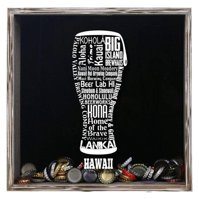 Torched Products Shadow Box Gray Hawaii Beer Typography Shadow Box