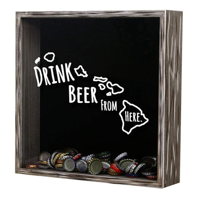 Torched Products Shadow Box Hawaii Drink Beer From Here Beer Cap Shadow Box (781165887605)