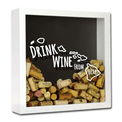 Torched Products Shadow Box White Hawaii Drink Wine From Here Wine Cork Shadow Box (795727691893)