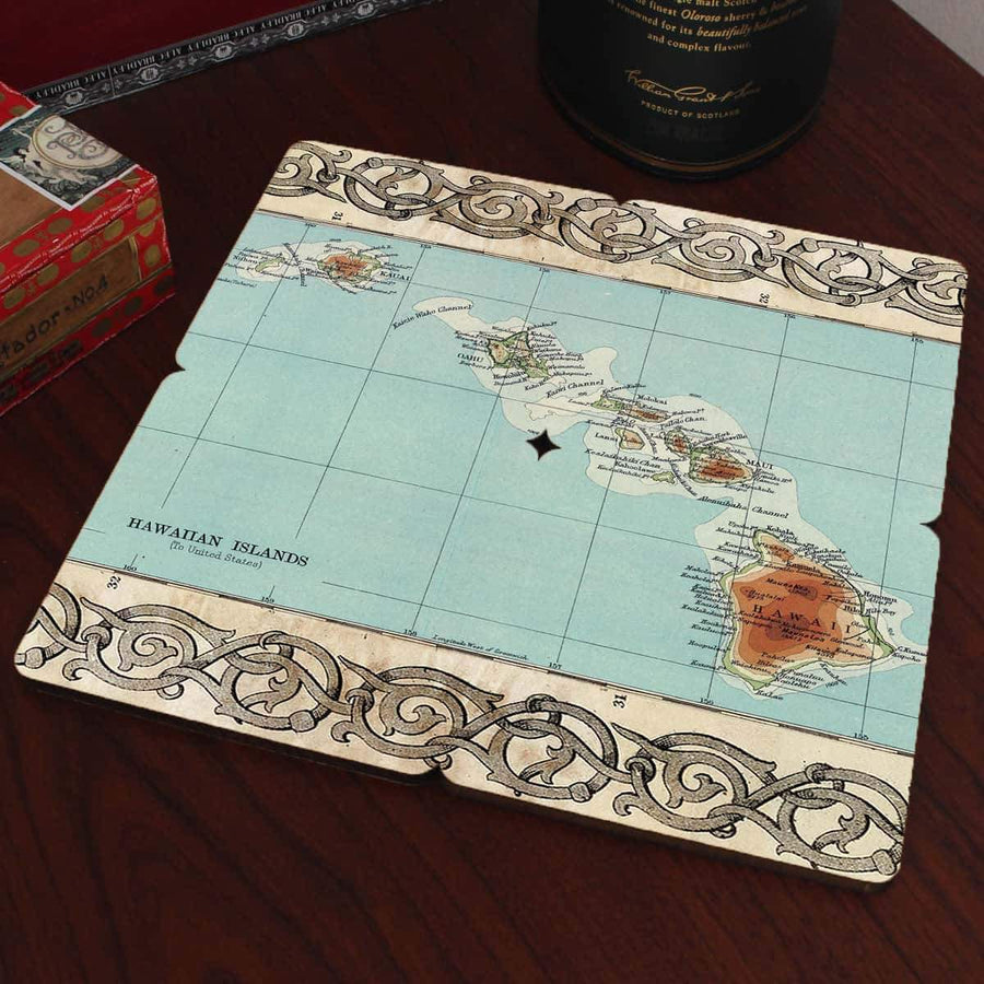 Torched Products Coasters Hawaii Old World Map Coaster
