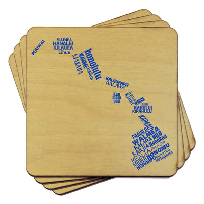 Torched Products Coasters Hawaii State Typography Coaster