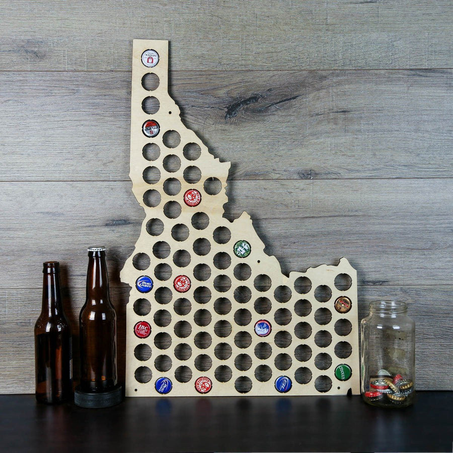 Torched Products Beer Bottle Cap Holder Idaho Beer Cap Map