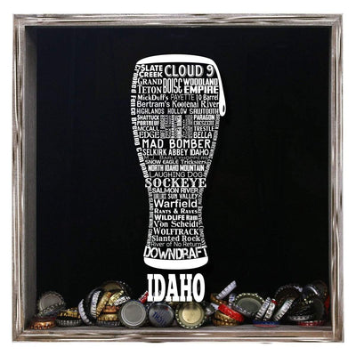 Torched Products Shadow Box Gray Idaho Beer Typography Shadow Box (779423940725)