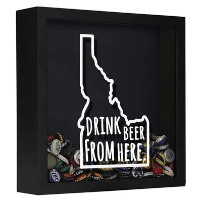 Torched Products Shadow Box Black Idaho Drink Beer From Here Beer Cap Shadow Box (781167100021)