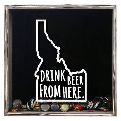 Torched Products Shadow Box Gray Idaho Drink Beer From Here Beer Cap Shadow Box (781167100021)