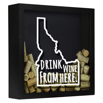 Torched Products Shadow Box Black Idaho Drink Wine From Here Wine Cork Shadow Box