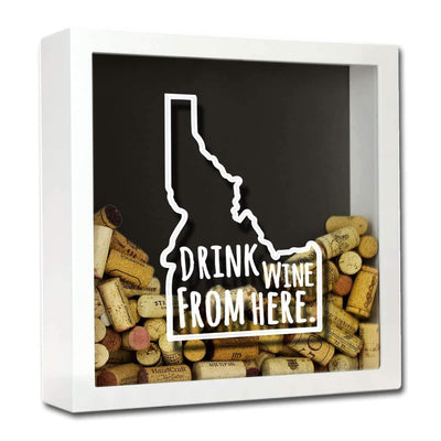 Torched Products Shadow Box White Idaho Drink Wine From Here Wine Cork Shadow Box