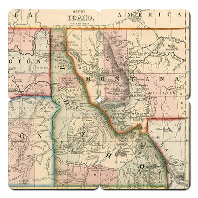 Torched Products Coasters Idaho Old World Map Coaster