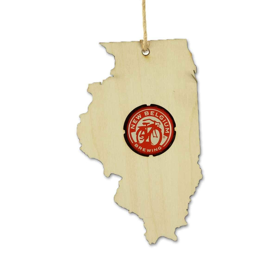 Torched Products Beer Cap Maps Illinois Beer Cap Map Ornaments (781551140981)