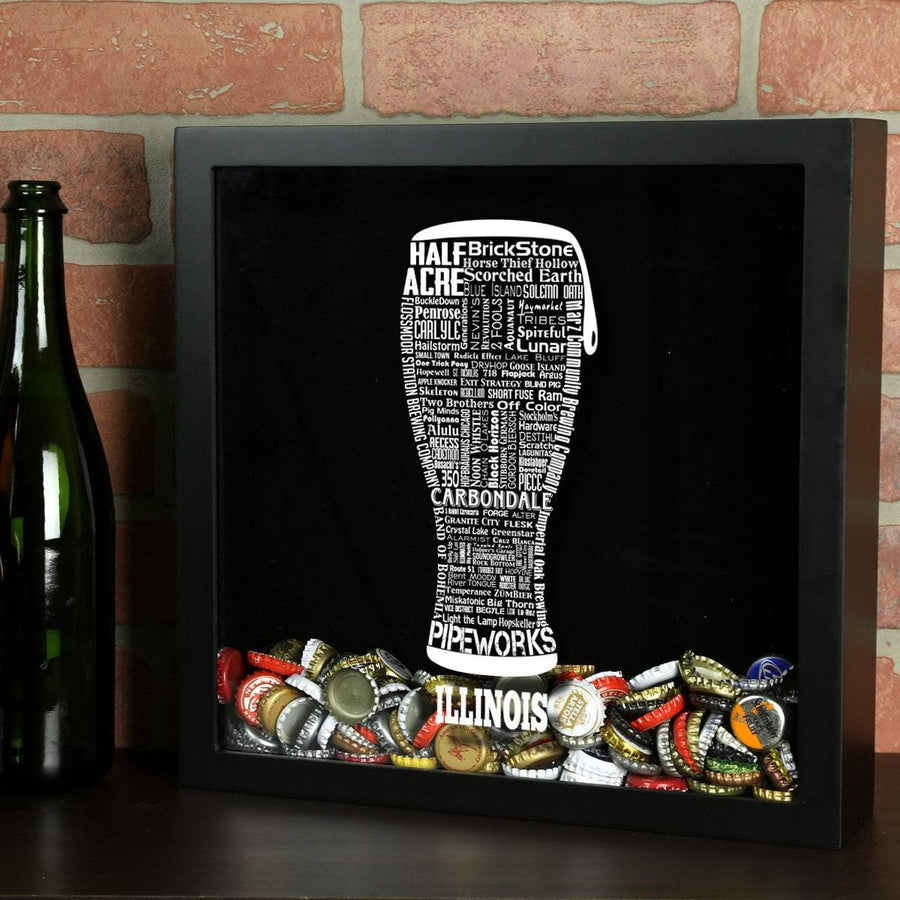 Torched Products Shadow Box Black Illinois Beer Typography Shadow Box (779424432245)