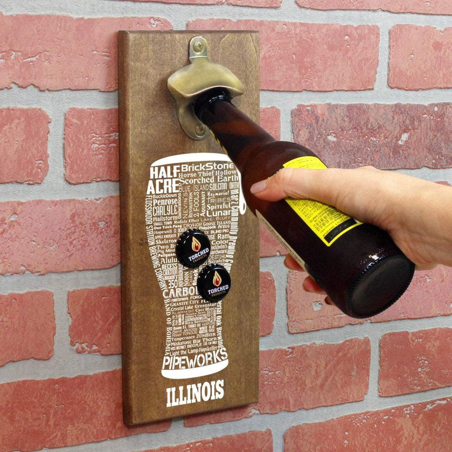 Torched Products Bottle Opener Default Title Illinois Craft Beer Typography Cap Catching Magnetic Bottle Opener