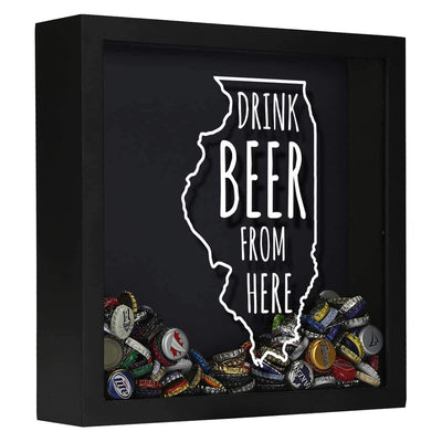 Torched Products Shadow Box Black Illinois Drink Beer From Here Beer Cap Shadow Box (781175128181)