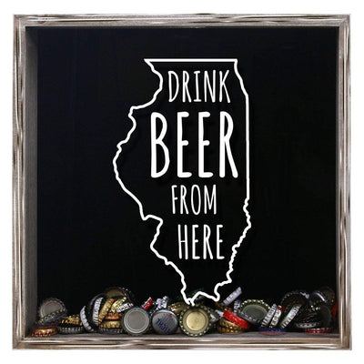 Torched Products Shadow Box Gray Illinois Drink Beer From Here Beer Cap Shadow Box (781175128181)