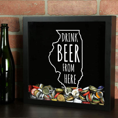 Torched Products Shadow Box Illinois Drink Beer From Here Beer Cap Shadow Box