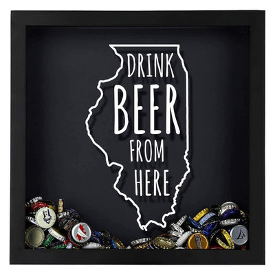 Torched Products Shadow Box Illinois Drink Beer From Here Beer Cap Shadow Box (781175128181)