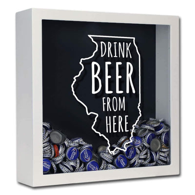 Torched Products Shadow Box White Illinois Drink Beer From Here Beer Cap Shadow Box (781175128181)