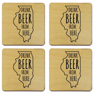 Torched Products Coasters Illinois Drink Beer From Here Coasters (781447692405)