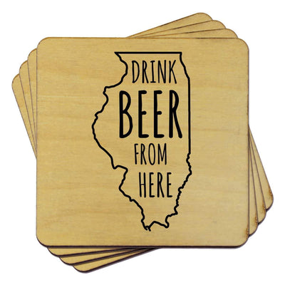 Torched Products Coasters Illinois Drink Beer From Here Coasters