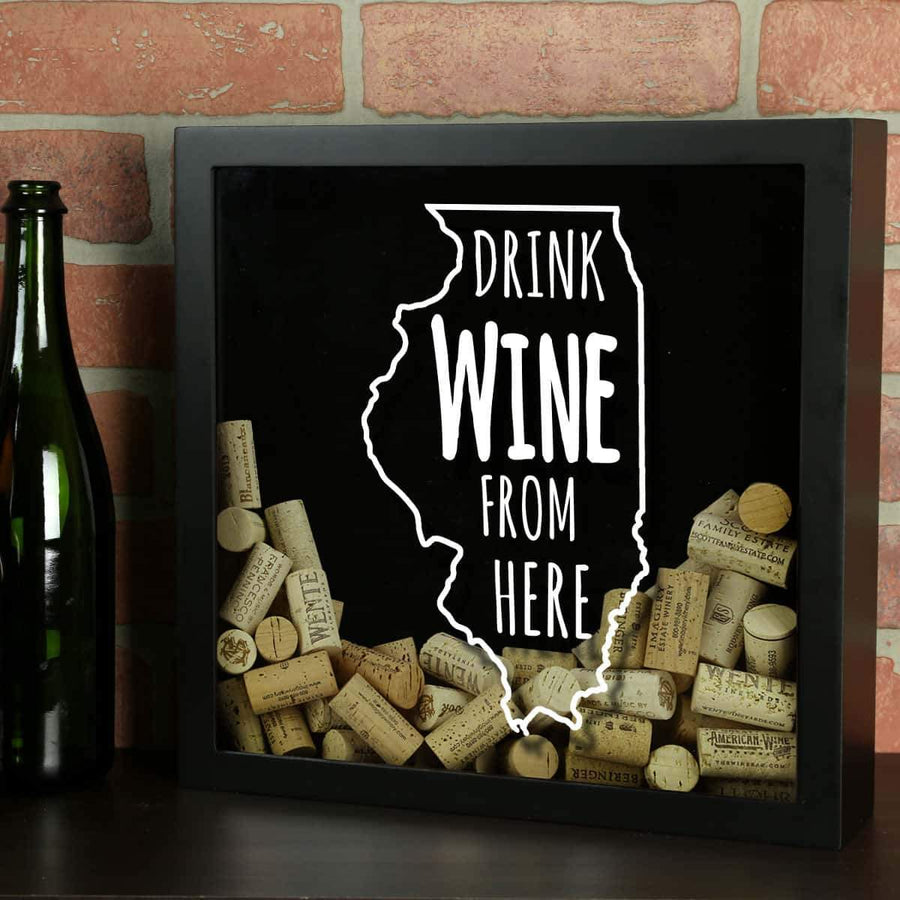 Torched Products Shadow Box Black Illinois Drink Wine From Here Wine Cork Shadow Box (795733590133)