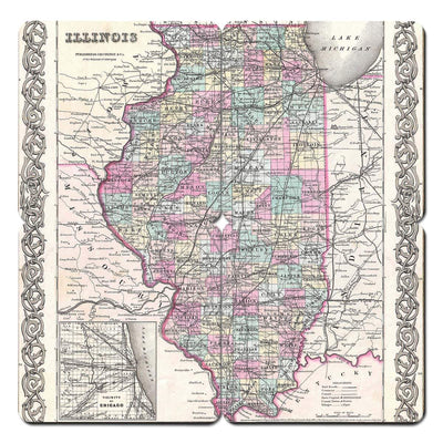 Torched Products Coasters Illinois Old World Map Coaster (790592913525)