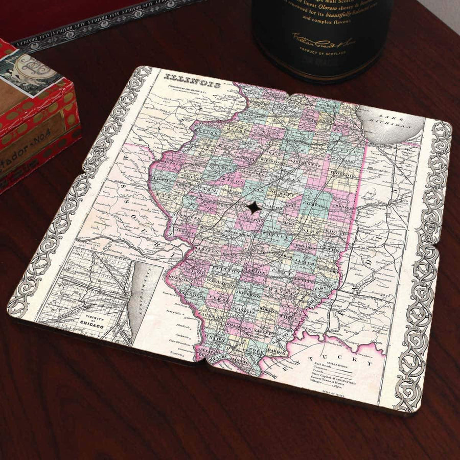 Torched Products Coasters Illinois Old World Map Coaster
