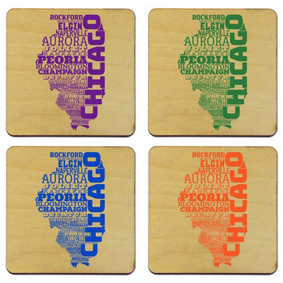 Torched Products Coasters Illinois State Typography Coaster (787812352117)