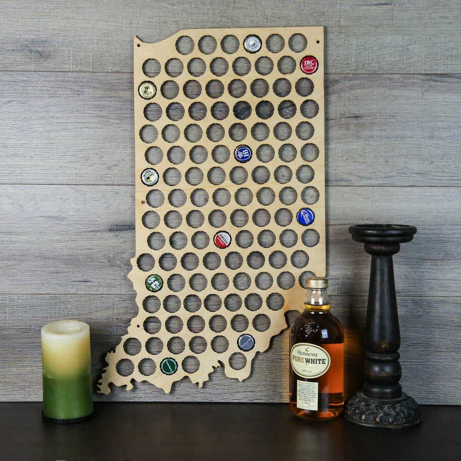 Torched Products Beer Bottle Cap Holder Indiana Beer Cap Map