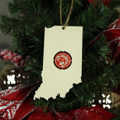 Torched Products Beer Cap Maps Indiana Beer Cap Map Ornaments