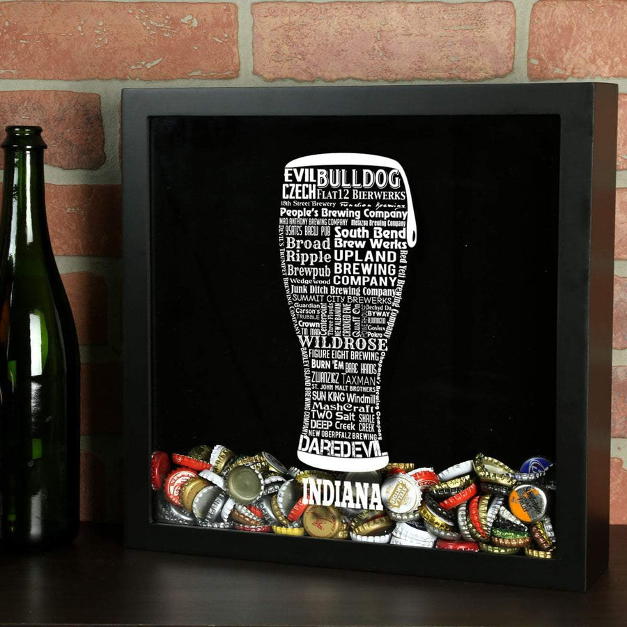 Torched Products Shadow Box Black Indiana Beer Typography Shadow Box (779424530549)