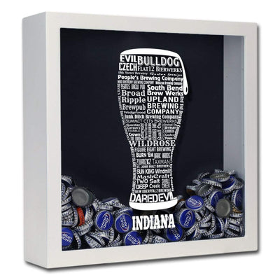 Torched Products Shadow Box White Indiana Beer Typography Shadow Box