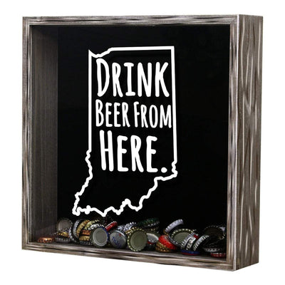 Torched Products Shadow Box Indiana Drink Beer From Here Beer Cap Shadow Box (781175324789)