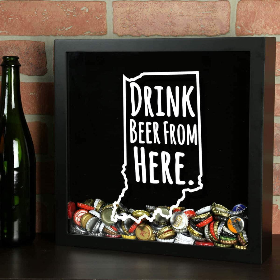 Torched Products Shadow Box Black Indiana Drink Beer From Here Beer Cap Shadow Box
