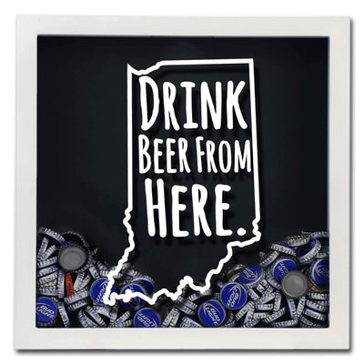 Torched Products Shadow Box Indiana Drink Beer From Here Beer Cap Shadow Box