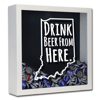 Torched Products Shadow Box White Indiana Drink Beer From Here Beer Cap Shadow Box (781175324789)