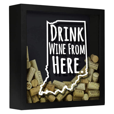 Torched Products Shadow Box Black Indiana Drink Wine From Here Wine Cork Shadow Box (795735982197)