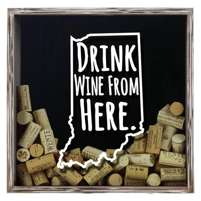 Torched Products Shadow Box Gray Indiana Drink Wine From Here Wine Cork Shadow Box (795735982197)