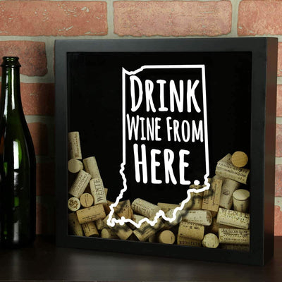 Torched Products Shadow Box Indiana Drink Wine From Here Wine Cork Shadow Box (795735982197)