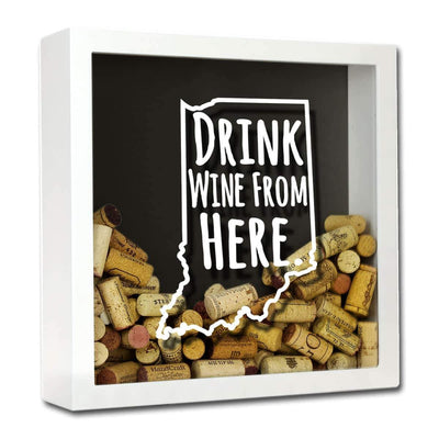 Torched Products Shadow Box White Indiana Drink Wine From Here Wine Cork Shadow Box (795735982197)