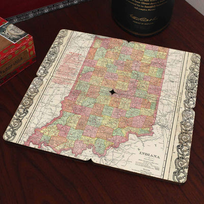 Torched Products Coasters Indiana Old World Map Coaster