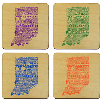 Torched Products Coasters Indiana State Typography Coaster (787814678645)
