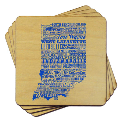 Torched Products Coasters Indiana State Typography Coaster
