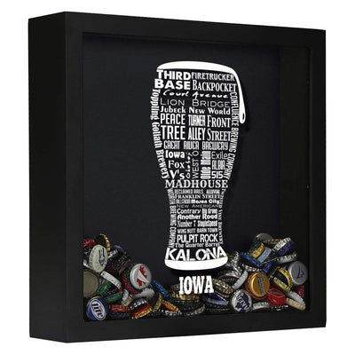 Torched Products Shadow Box Black Iowa Beer Typography Shadow Box (779379179637)