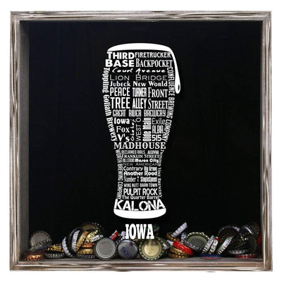 Torched Products Shadow Box Gray Iowa Beer Typography Shadow Box (779379179637)