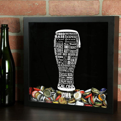 Torched Products Shadow Box Iowa Beer Typography Shadow Box (779379179637)