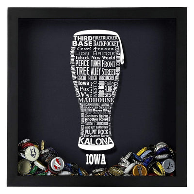Torched Products Shadow Box Iowa Beer Typography Shadow Box