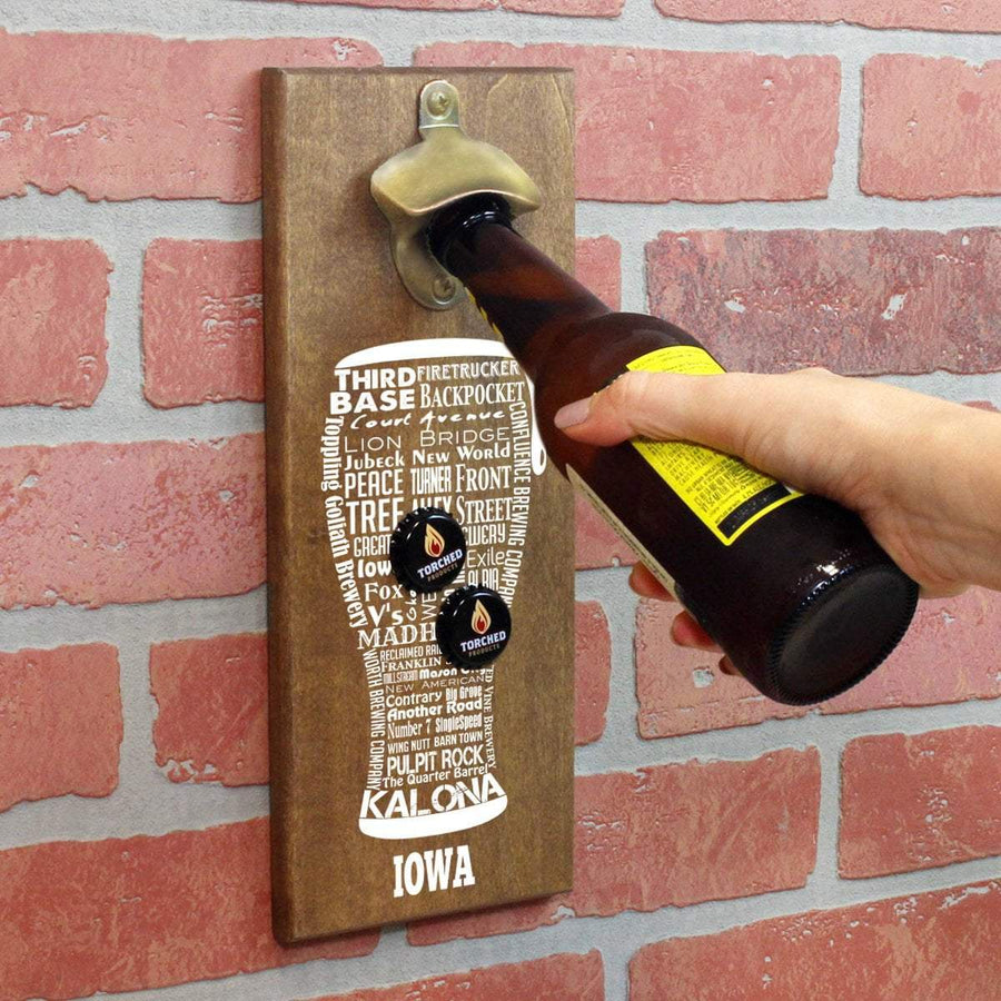 Torched Products Bottle Opener Default Title Iowa Craft Beer Typography Cap Catching Magnetic Bottle Opener