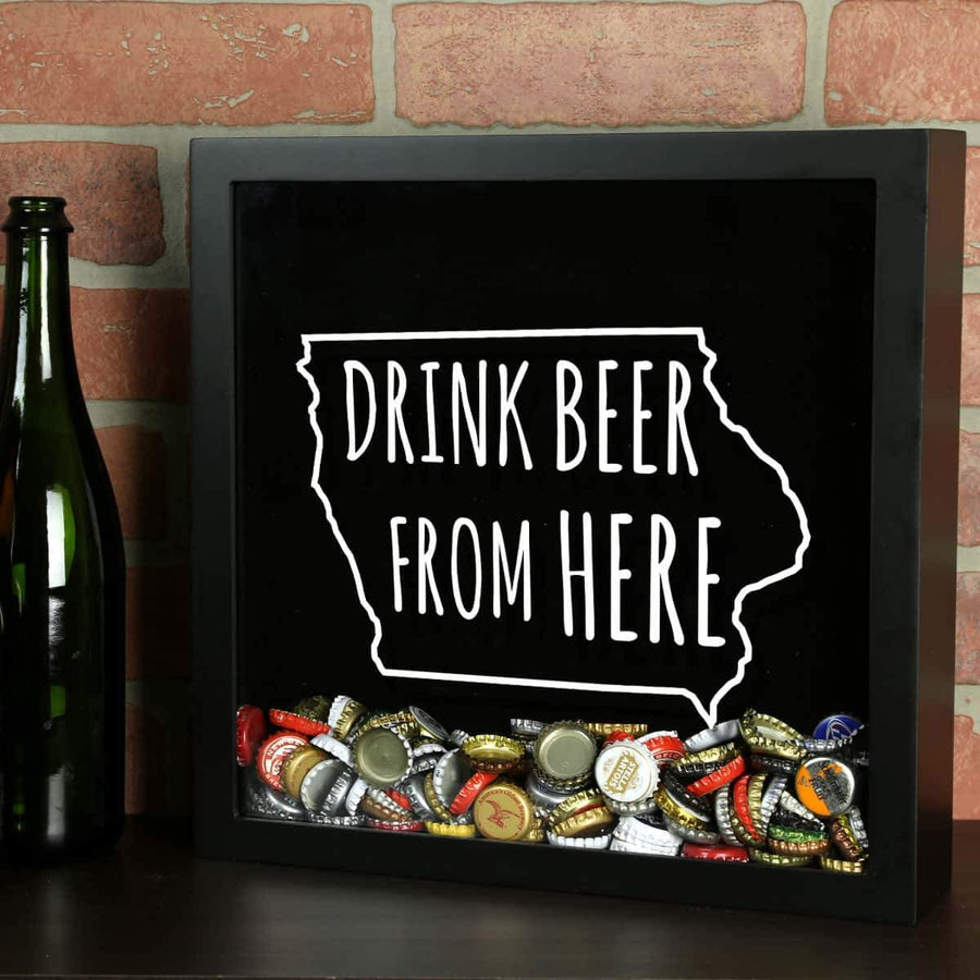 Torched Products Shadow Box Black Iowa Drink Beer From Here Beer Cap Shadow Box (781166313589)