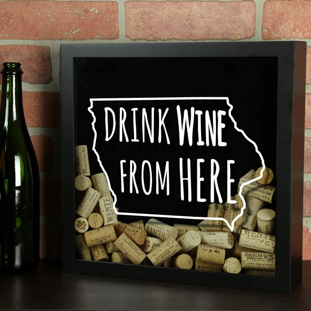 Torched Products Shadow Box Black Iowa Drink Wine From Here Wine Cork Shadow Box (795739095157)