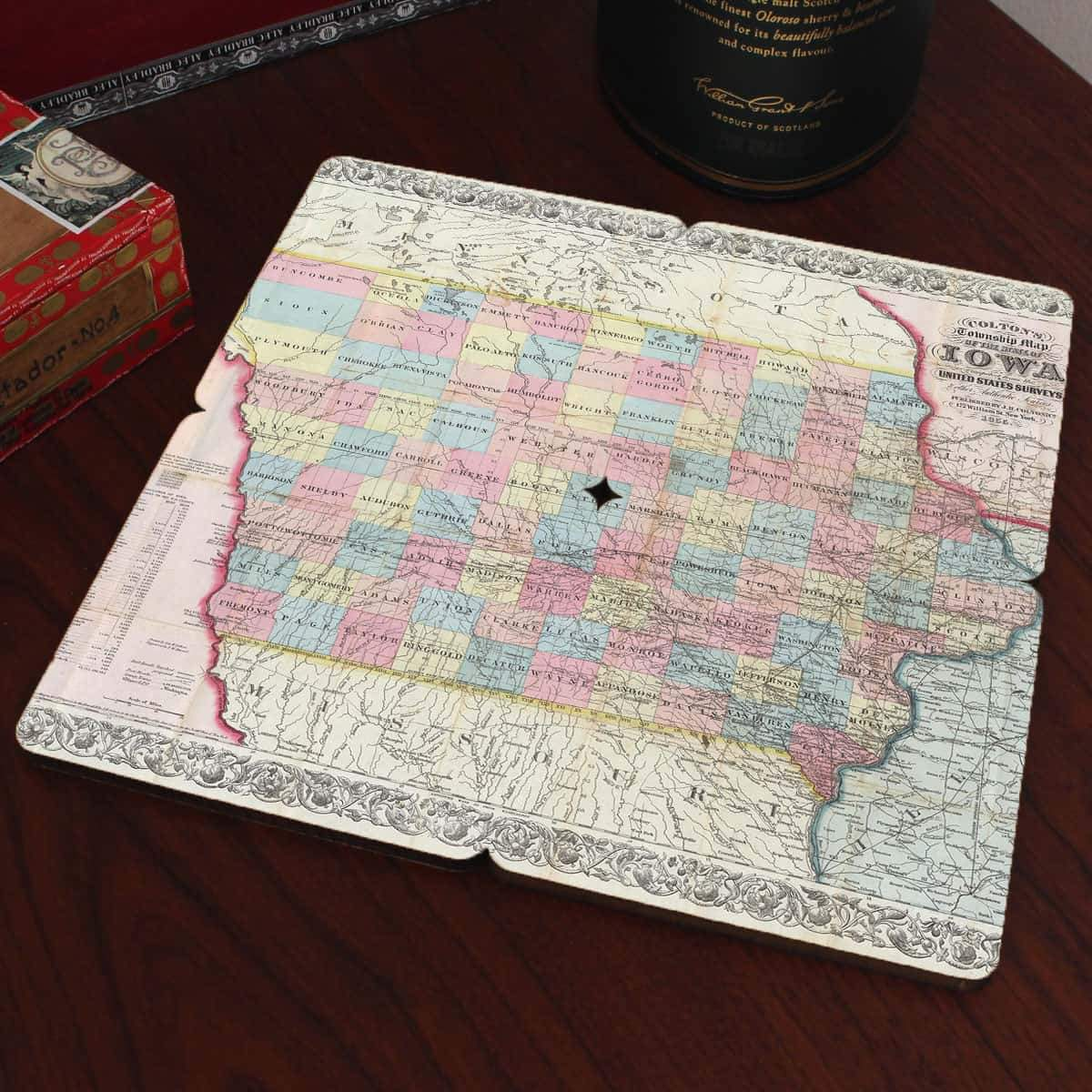 Torched Products Coasters Iowa Old World Map Coaster (790591930485)
