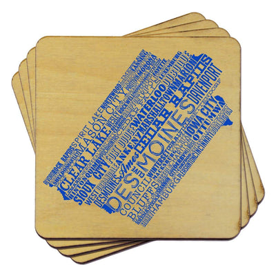 Torched Products Coasters Iowa State Typography Coaster